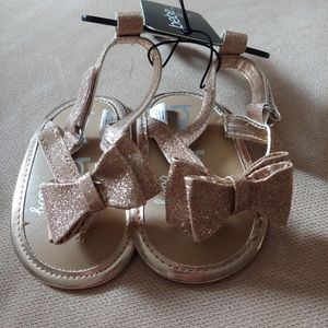 Bebe Baby Girl Rose Gold Bow Sandals NWT